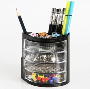 Chris-Wang 1Pc Multifunctional Plastic Desktop Pen Holder, Desk Storage Organisers Case for Pencil/Rubber/Binder Clips/Paperclips/Memo Notes/Stationery/Office Suplise
