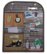Vintage Theme Wall Hanging Organiser with Key Holders, Clip Board, and Pockets 30cm x 37cm