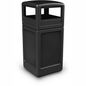 Square Waste Container with Dome Lid, 159l, Black