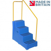 Premium Step 4 Tread Industrial Blue Plastic Moulded Block Step with Yellow Tubular Steel Handrail