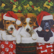"CHRISTMAS PUPPIES RED WHITE 3-PLY 20 PAPER NAPKINS SERVIETTES 13""X13""-33X33CM"