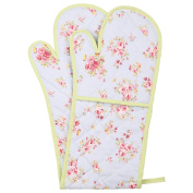 Neoviva Cotton Canvas Quilted Double Oven Glove, Floral Ballad Blue