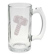 Thor's Hammer Norse Mythology Glass Stein Mug 740ml