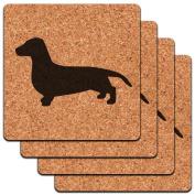Dachshund Weiner Dog Low Profile Cork Coaster Set
