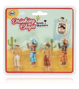 NPW Drinking Buddies Cocktail/Wine Glass Markers, 4-Count, Drinking Chaps Cowboy Buddies