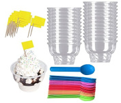 Outside the Box Papers Ice Cream Sundae Kit with Clear Plastic 240ml Dishes, Ecoc Friendly Plastic Spoons and Flag Picks- 24 Each Pink, Blue, Yellow, Green, Orange