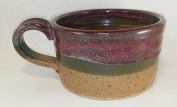Aunt Chris' Pottery - Hand Made Clay - Soup Bowl - With Handle - You Can Spoon It Out - Drink It Right Of The Bowl - Maroon, Green and Tan Glazed Coloured