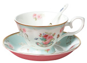 Jusalpha® Vintage Rose Bone China Light Blue Tea Cup and Saucer Set with Spoon-Coffee Cup-Coffee Mug-FLTCS06
