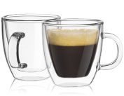 JoyJolt Savour Double Wall Insulated glasses Espresso Mugs Set of 2, 160mls