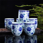 Set Of 6 Eastern Asian Design Ceramic Tea Cups In Blue-And-White Peony - 240ml Capacity Each