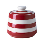 Cornishware Red and White Stripe Stoneware Covered Sugar Bowl