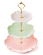 Jusalpha 3-tier Porcelain China Cake Stand-Dessert Stand-Cupcake Stand-Tea Party Serving Platter