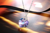 PLATO H Brave Heart Pendant Necklace with Crystal Mother's Day Gift for Her, Purple 46cm