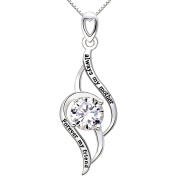 "ALOV Jewellery Sterling Silver ""always my mother Forever my friend"" Love Cubic Zirconia Pendant Necklace"