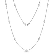 Noray Designs 14K White Gold Diamond by the Yard 10 Station Necklace (1 Ct, G-H, I1-I2), 46cm