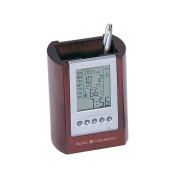 Rosewood Finish Pencil Cup, Picture Frame, and Digital Display