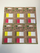Lot of 6 Redi-Tag 100% Recycled Pop-Up Page Flags, 2.5cm x 4.3cm , Red/Yellow