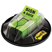"""Flags in Dispenser, """"Sign & Date"""", Bright Green, 200 Flags/Dispenser, Sold as 1 Package, 5PACK , Total 5 Package"""