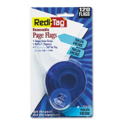 "Redi-Tag - Arrow Message Page Flags in Dispenser, ""Sign Here"", Blue, 120 Flags/Dispenser 81034 (DMi PK"