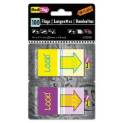 "Redi-Tag - Pop-Up Fab Flags W/ Dispenser, ""Look!"", Purple/Yellow; Yellow/Teal, 100/Pack 72039 (DMi PK"