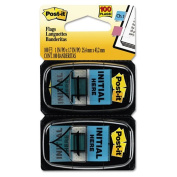 """Post-it Flags - Arrow Message 2.5cm Flags, """"Initial Here"""", Blue, 2 50-Flag Dispensers/Pack 680-IH2 (DMi PK"""