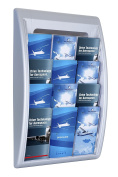 Paperflow Quick Fit Systems Wall Mounted 4-Pocket Literature Display, 70cm x 40cm x 9.7cm , Silver