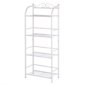 Asunflower White Metal Bookshelf 4-Tiers Shelving Units and Storage for Home or Office Storage and Organisation