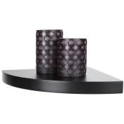 Arad Black Laminate Large Radial Corner Wall Shelf