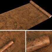 SimpleLife4U Brown Wood Grain Contact Paper PVC Self-Adhesive Shelf Liner Locker Door Sticker 45cm By 3m