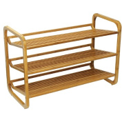 3-Tier Slatted Shelves Carbonised Bamboo Shoe Rack, Tan