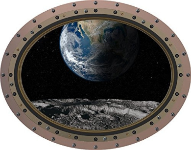 30cm Porthole Outer Space Ship Window View EARTH VIEW from MOON #1 OVAL RIVETS Wall Graphic Kids Sticker Baby Room Decal Home Den Man Cave Art Décor SMALL