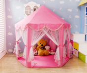 SpringBuds Extra Thick Kids Indoor Princess Castle Play Tents with Beading Decoration,Outdoor Girls Large Playhouse With LED Star Lights,140cm x 130cm