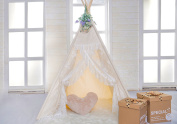 HAN-MM Floral Classic Ivory Kids Teepee Kids Play Tent Childrens Play House Tipi Kids Room Decor