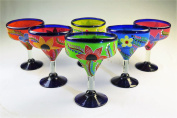 Mexican Glass Margarita Hand Painted Flowers, Mixed, 410ml, Set of 6
