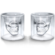 EASYTAR Skull Shot Glass, Thick Base, Double Wall, Clear Glass Crystal Skull Shotglass,crystal Skull Pirate Shot Glass Drink Cocktail Beer Cup(75ml)