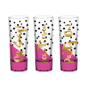 Slant Collections Shot Glasses Set of Three - 60ml Each - Oh Snap, I Can't Even, Party On