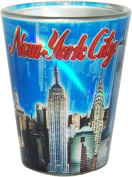 New York City Blue Metallic Shotglass