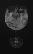 Hand Etched Spiegelau Crystal Goblet Permanently Sandblasted Pigs Flying Over Clouds (Sand Carved) Handmade Wine Water Glass