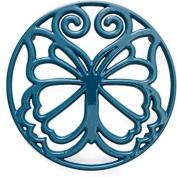 Pioneer Woman Timeless Beauty Butterfly 8 Teal Blue Cast Iron Enamel Trivet by The Pioneer Woman
