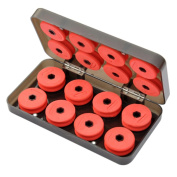 16pcs Fishing Red Foam Fishing Line Wire Bobbin Spools Tackle with Storage Case