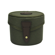 Tourbon Canvas and Leather Fly Fishing Large Reel Case Holder Storage - Green