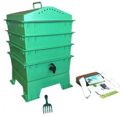 VermiHut 3-Tray Worm Compost Bin with Free Claw, Green