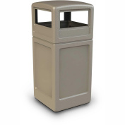 Square Waste Container with Dome Lid, 159l, Beige