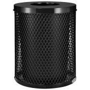Thermoplastic Coated Mesh Receptacle w/Flat Lid, 121.1l, Black