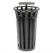 90.8l Outdoor Metal Slatted Trash Receptacle with Rain Bonnet Lid, Black