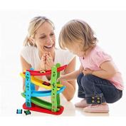 Baby Children Wooden Roller Coasters Slide Four Layer Gliding Car // Los niños del bebé montañas rusas de madera deslizar cuatro capas coche deslizándose