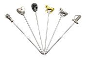PuTwo Set of 6 Stainless Steel Unique Middle Ages Bonzes Horses Cocktail Picks Stickers Skewers Party Supplies - Mid Ages