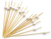 12cm Bamboo Cocktail Picks With White Pearls - Set Of 300 Decorative Bamboo Cocktail Skewers With Shiny Pearl Beads