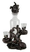 Octopus Spirit Decorative Antique Bronze Finish Statue and Glass Decanter Set