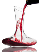 Wine Reveller Hand-Blown 100% Lead-Free Crystal Decanter, Red Wine Carafe with Easy Pour Spout. Great Wine Gift.